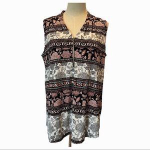 Ivanka Trump sleeveless front zipper v-neck shirt